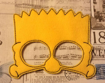 Bart inspired the simpsons mask ITH Project In the Hoop Embroidery Design Costume, Cosplay, Fancy dress,  Photo booth, Prop