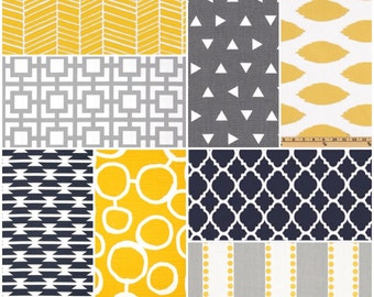 Custom Crib Bedding Set, Made to Order, Yellow, navy & gray, chevron, modern, crib skirt, sheet, baby blanket