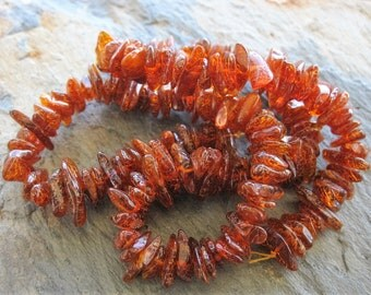 Baltic Dark Amber Chip Bead Strand