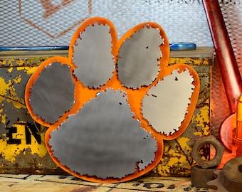 Clemson University Paw Stainless Steel on Orange