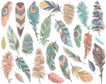 Tribal Feathers Clip Art - Set of 26 300 DPI PNG, JPG and Vector Files - Cute, Hand Drawn Clipart Digital Download
