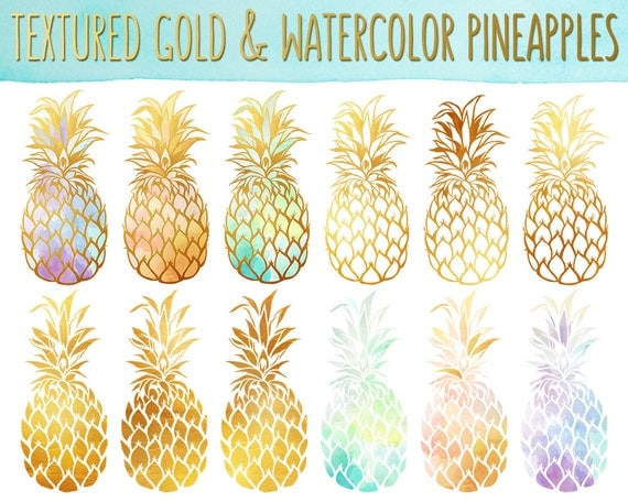 Pineapple Clipart - Gold Texture Pineapples, Watercolor ...