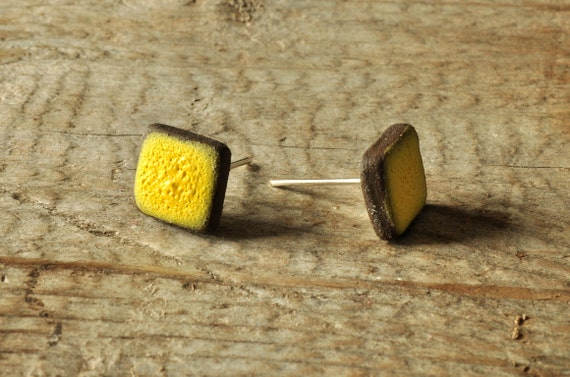 MINI matte yellow square stoneware stud earrings