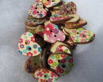 Wooden Floral Heart Buttons Packs of 10, 25 or 50