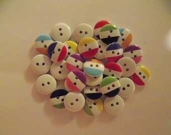 15 Mixed Stripped Buttons - #WS-00038