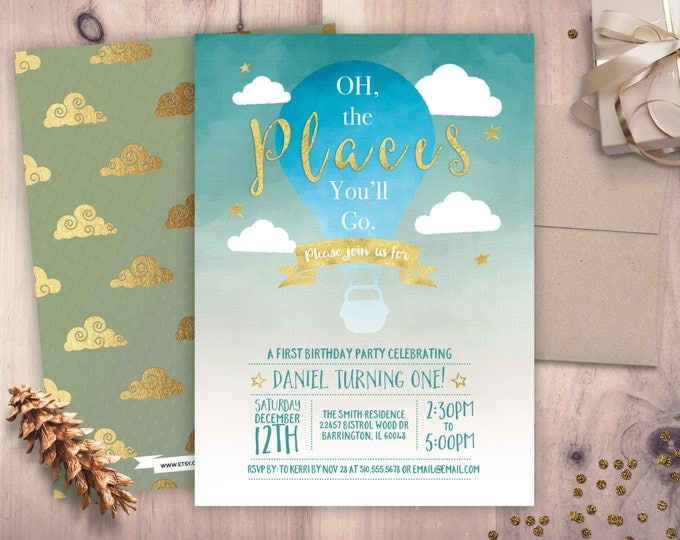 Oh The Places You Will Go, birthday Invitation • Dr. Seuss birthday Invitation • any age birthday • 5x7 Printable • Oh The Places You'll Go