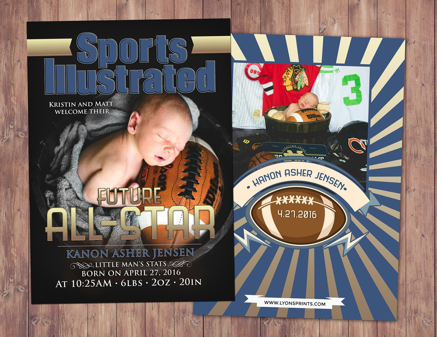 Sports MAGAZINE theme birth announcement baby boy football baby – Football Birth Announcements