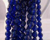 COBALT 8mm Cobalt Firepolish Faceted Round Czech Glass Beads - Cobalt Blue Beads -Qty 25 8-151