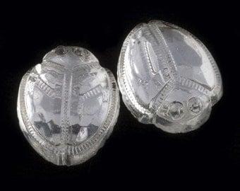 Vintage clear glass flat back foiled scarab cabochon 15x12mm 4 pcs. b5-804(e)