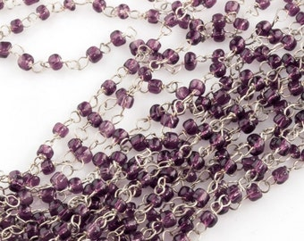 Czech bead chain of silver wire and 3mm amethyst glass beads.  16+ inches length. b12-chn680(e)