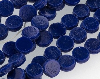 Antique Bohemian cobalt blue flat glass sequin or nailhead bead. 7mm. Pkg of 25. b11-bl-0947(e)