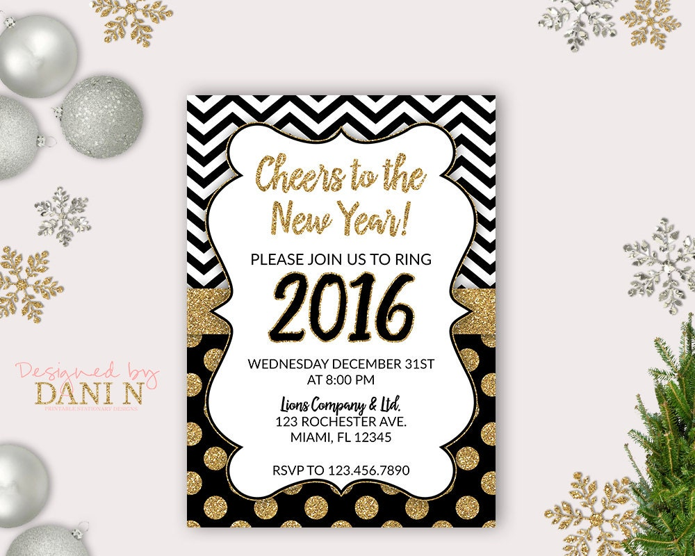 New Years eve Party Invite 2016 Holiday Invitation Cheers  New Years eve P...