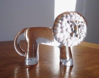 Kosta Boda Sweden Zoo Series Lion Figurine / Paperweight - Erik Hoglund, Bertil Vallien Designers - 1970s