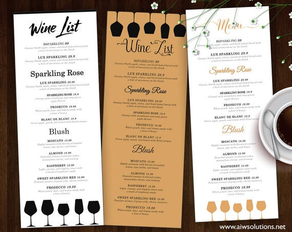 Wine list wine menu template wedding print drink menu for Wine dinner menu template