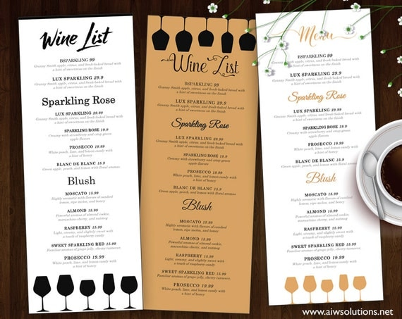 wine dinner menu template - wine list wine menu template wedding print drink menu