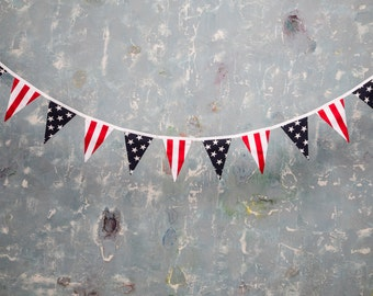 12 Cotton American flag, Garland bunting