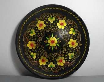 Vintage Russian Plate/Khokhloma Plate/Mexican Tray/Russian Wooden Plate/Russian Decor/Russian Folk Art/Soviet Plate/Hanging Plate/Boho Chic