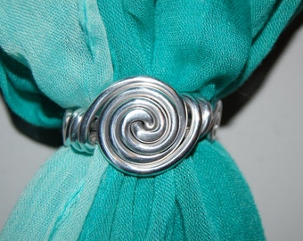 New circle swirl scarf ring, metal, wire jewelry, fancy endings