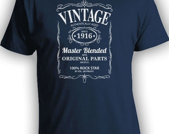 Vintage Whiskey Label Birthday Shirt Born 1916 - Celebrating 100th Birthday, Gifts for Him, Gifts for Grandpa, Gifts for Dad Bourbon CT-1005