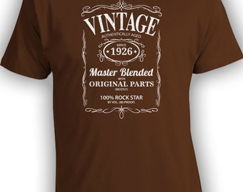 Vintage Whiskey Label Birthday Shirt Born 1926 - Celebrating 90th Birthday, Gifts for Him, Gifts for Grandpa, Gifts for Dad Bourbon CT-1015