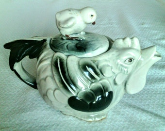 Rare Vintage Black and White Hen Teapot With Chick on Top of Lid