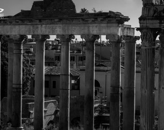 Black and white photography of Rome, Ancient Rome on canvas, photo of Italy on canvas, acrylic, print