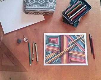 Original, hand-drawn in colored pencil- Roaming Rainbow
