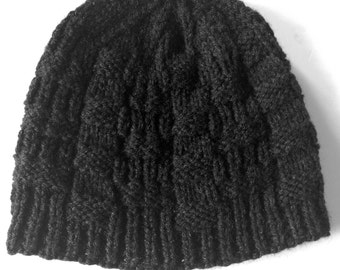 All Ages Hat - Black Knitted Design Unisex Hat - Black Handmade Beanie