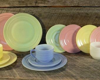 CHILD'S TEA SET: Little Hostess Pastel Moderntone Hazel Atlas 1940s