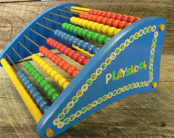 PLAYSKOOL ABACUS: Vintage 1970s Learning Counting Math Toy, Child's Bedroom Play Room Decor