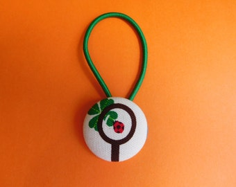 Lady Bug - Lady Beetle Fabric Button Hair Tie