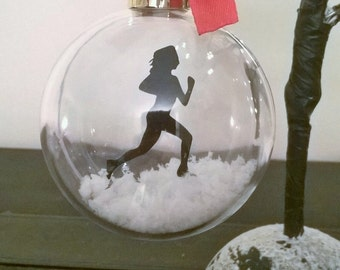 Female Runner Silhouette in the Snow ~ Acrylic Bauble ~ can be Personalised