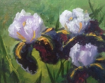 Irises flower lilac original oil painting miniature handmade card original art gift
