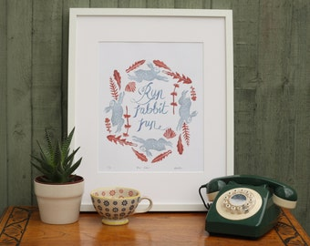 Giclée rabbit print, A3, limited edition print, run rabbit run, nursery decor, calligraphy, wall art, home decor, art print, nature