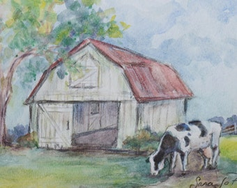 Original Cow and Barn Watercolor Painting - Ethel