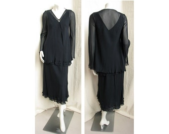 Vintage 1990s MELINDA ENG 3pc Dress Layered Silk Chiffon Tunic, Skirt, Jacket