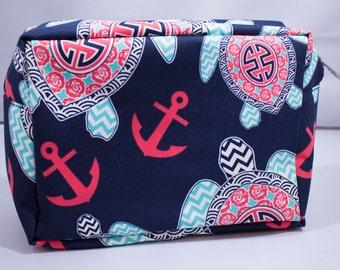 Cosmetic bag-Sea Turtle-Nautical-Ocean-Beach-Navy-Blue-Anchor-Aqua-Coral