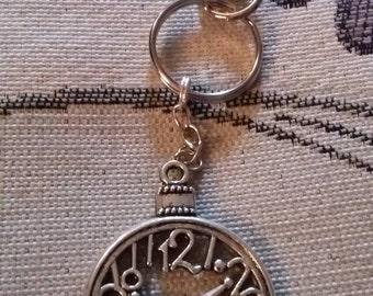 """Handmade clock keyring (""""antique silver"""")"""