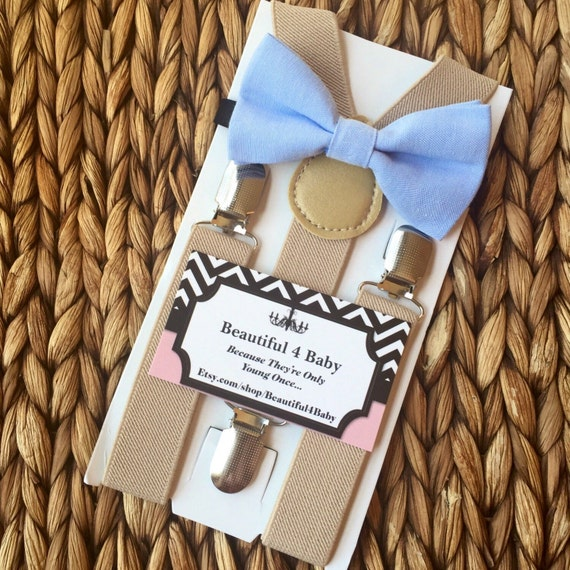 blue baby bow tie blue toddler bow tie tan suspenders blue