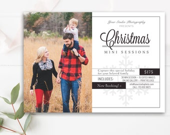 Christmas Mini Session Template - Holiday Mini Session Templates for Photographers - Christmas Marketing Board- INSTANT DOWNLOAD!