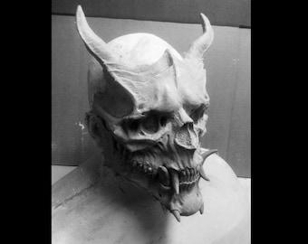 Pre-Order Oni Skull Mask/Demon Skull/ Horror Halloween, Costume, Mask Paint your own, or finished.