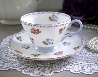 "Shelley Tea Cup and Saucer, ""Shelley Rose, Pansy and Forget-Me-Not"", Blue Trim, English Bone China, Made in England, Tea Party, 1925-1940"