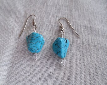 Bold Turquoise earrings with Swarovski accents.
