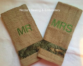 Mongrammed Camouflage 2 Piece HandTowel Set, Hunting Decor, Gift for Hunters, Camo Towels, Housewarming Gift for Man, Mens Bath Decor