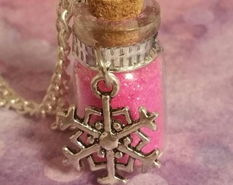 Snowflake glitter vial pendant charm necklace , Christmas charm jewelry, pink blue purple