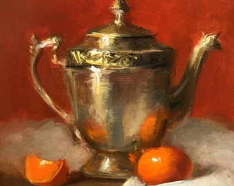 Small still life painting with metal pitcher and tangerine. Original painting. Kitchen decor. 5*5in