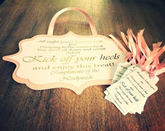 Flip flop sign for weddings & partys with tags