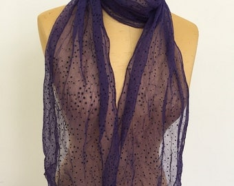 Purple Sheer Georgette Scarf. Women's Elegant Wraps. Purple Sparkly Illusion Scarf. Evening Tulle Scarves and Shawls. Gifts for Her