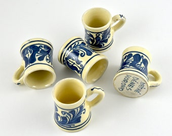 gallerymichel Màthé Dènes Signed Romanian Blue and White Vintage Korond Pottery Mugs