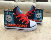 Custom Made Dunlop Hi Tops Pumps Sneakers Customised Shoes Personalised Mario Thomas Train Power Rangers